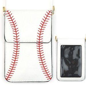 Handbags - Baseball crossbody purse phone holder